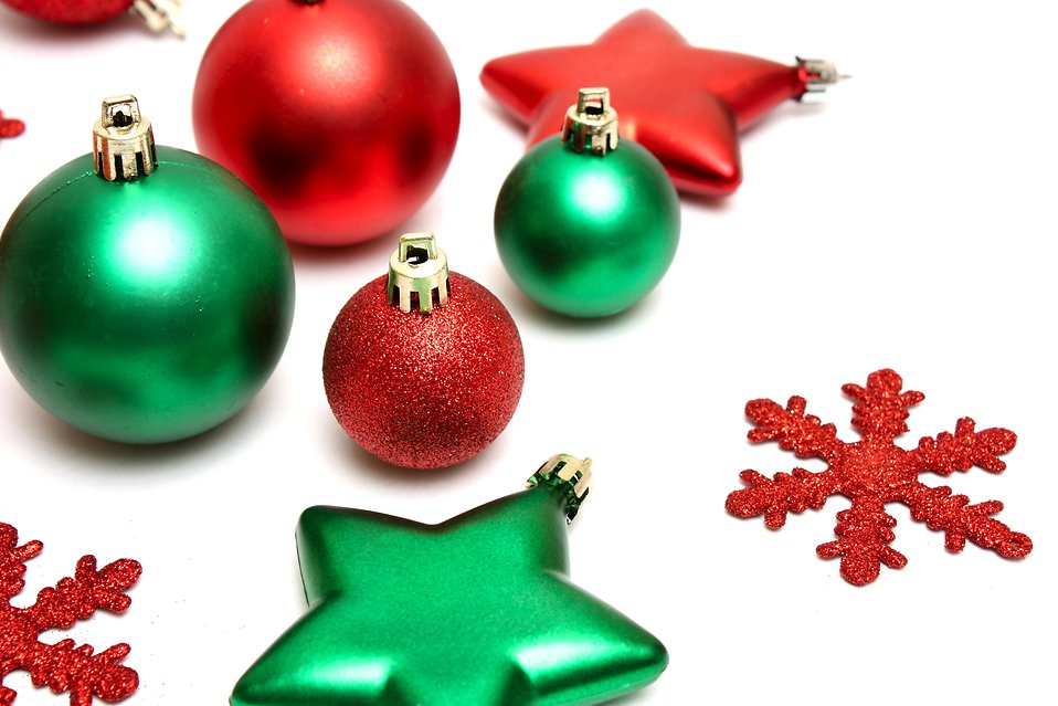 Free picture of christmas ornaments new calendar for Red and green christmas decorations