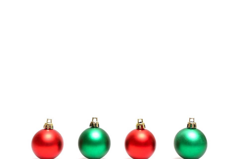 Red and green Christmas ornaments isolated on a white background : Free Stock Photo