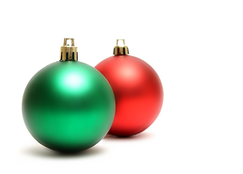 green and red christmas ornaments isolated on a white background free stock photo