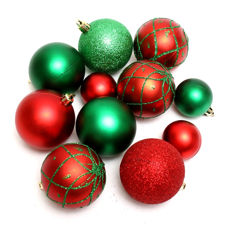 red and green christmas ornaments isolated on a white background free stock photo - Red And Green Christmas Decorations