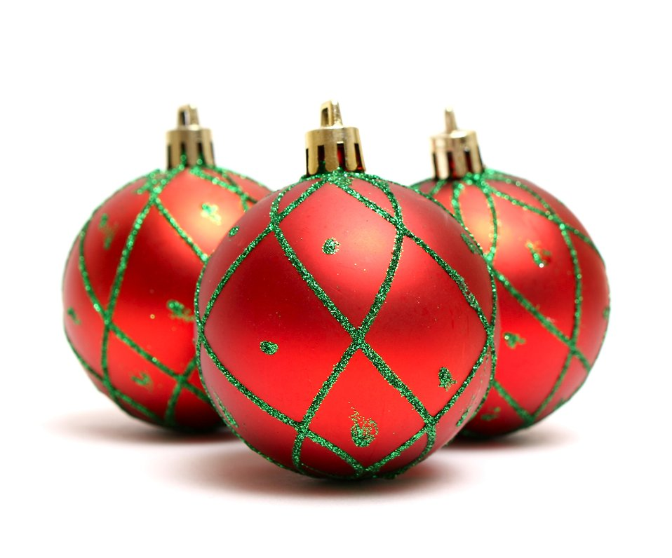 A red Christmas ornaments isolated on a white background : Free Stock Photo