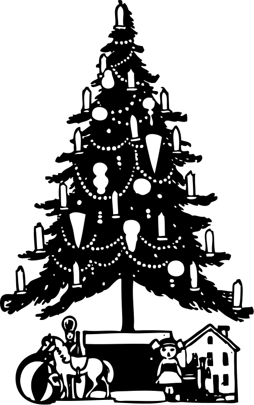 Illustration of a Christmas tree with presents : Free Stock Photo
