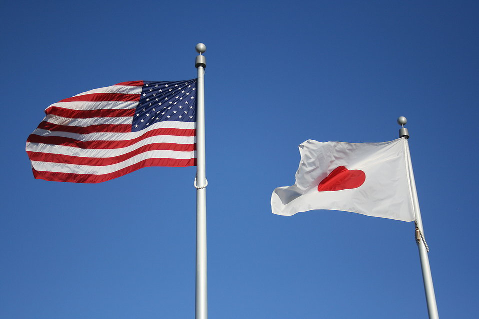 USA and Japan Flag  : Free Stock Photo