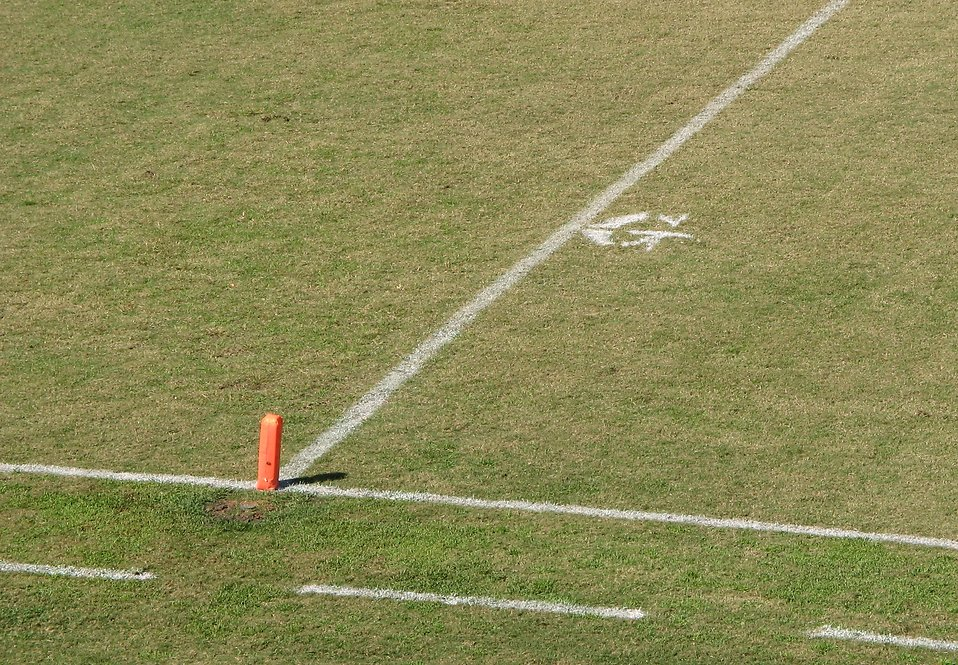 Goal line on a football field : Free Stock Photo