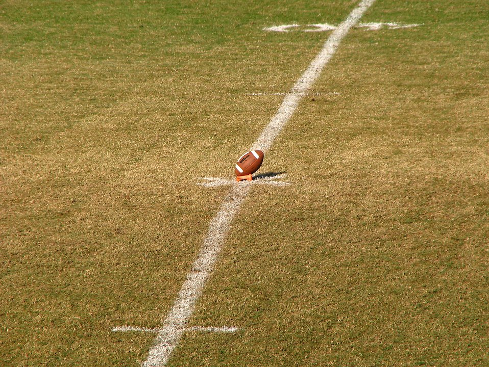 A football in a tee on a field : Free Stock Photo