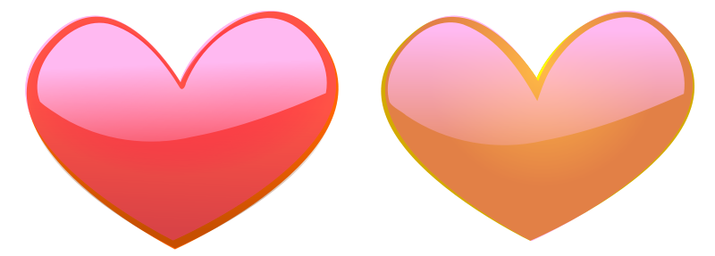 Illustration of pink and orange hearts : Free Stock Photo