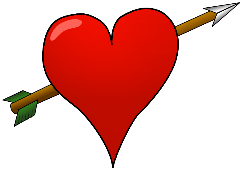 Illustration of a red heart with an arrow : Free Stock Photo