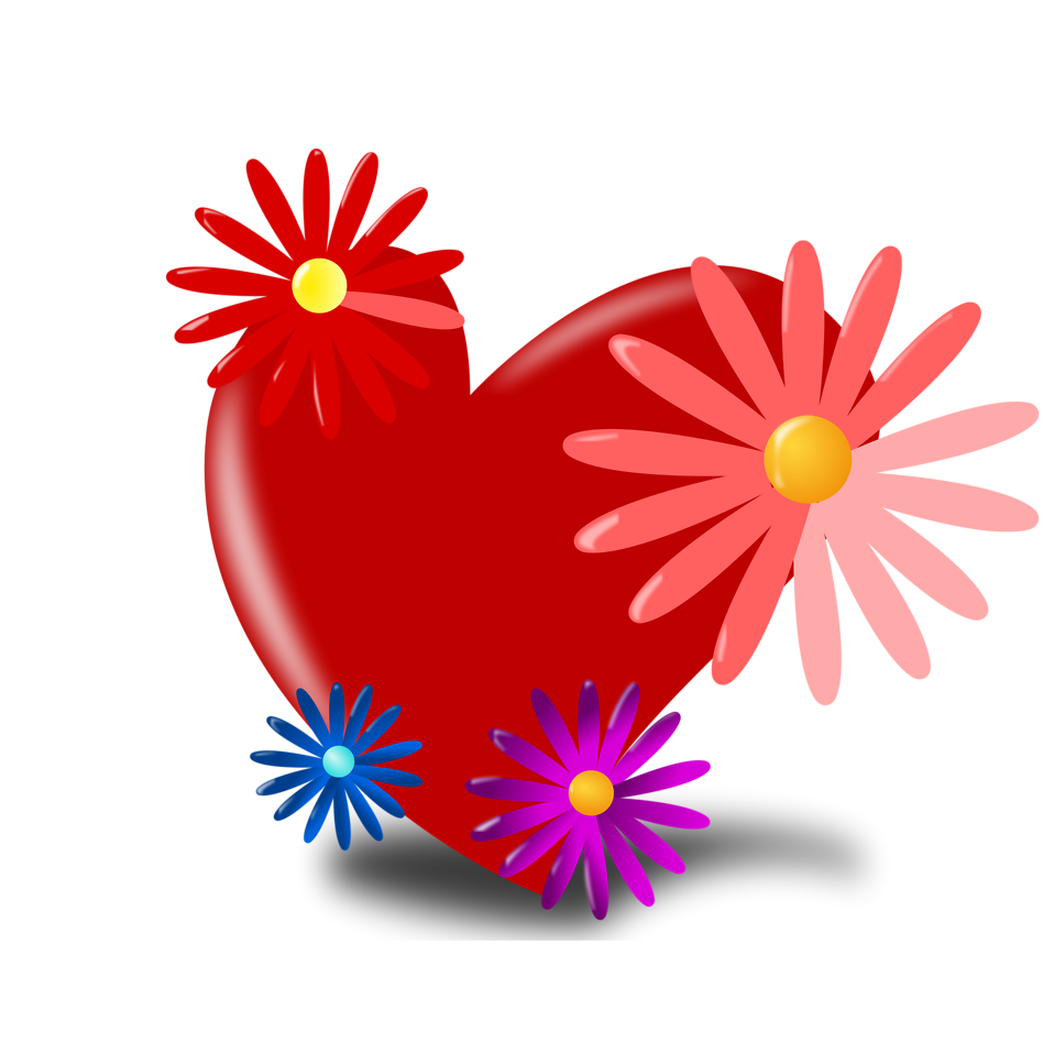 Illustration of a red heart with flowers : Free Stock Photo