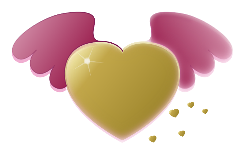 Illustration of a gold heart with wings : Free Stock Photo