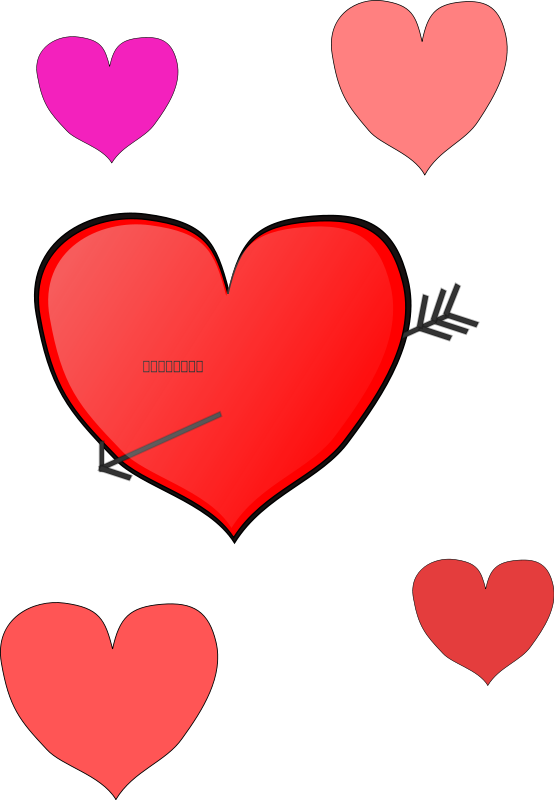 Illustration of red and pink hearts : Free Stock Photo
