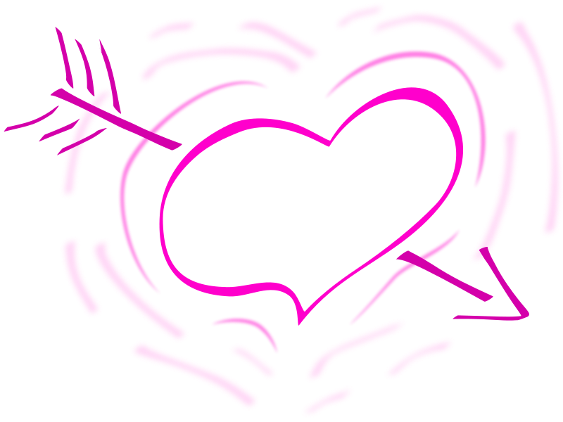 Illustration of a pink heart with an arrow : Free Stock Photo