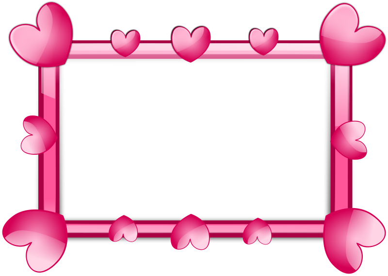 Free Stock Photo: A blank frame border with pink hearts.