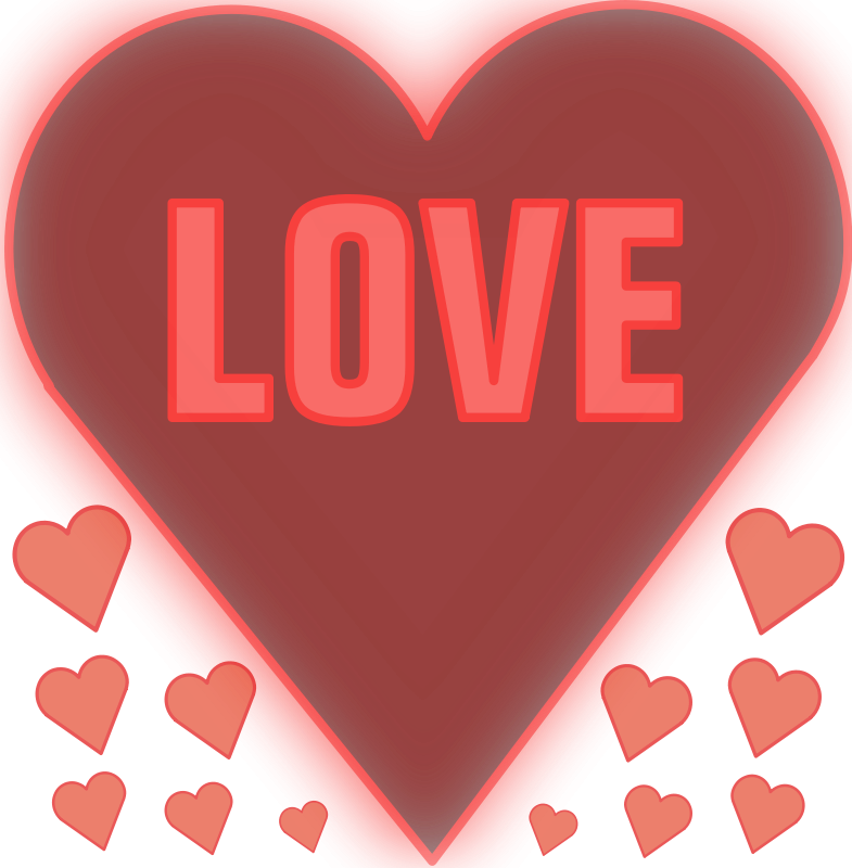 Illustration of red and pink hearts with love text : Free Stock Photo