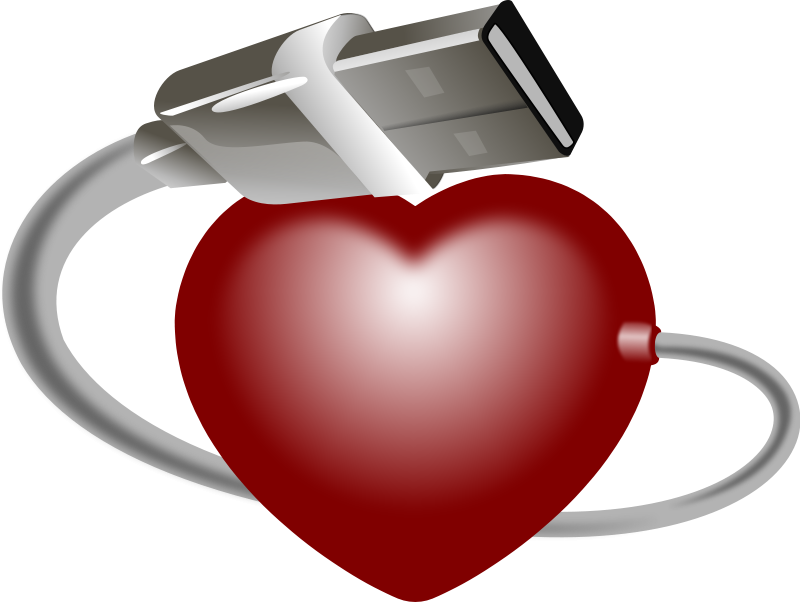 Illustration of a red heart with a USB cable : Free Stock Photo