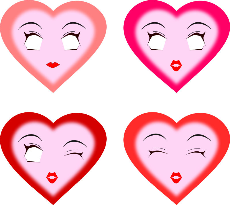 Illustration of pink hearts with faces : Free Stock Photo