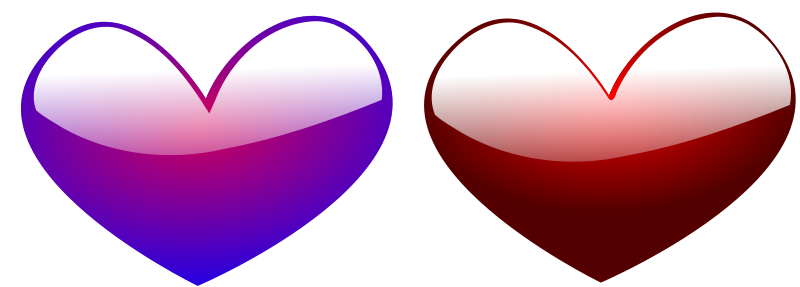 Illustration of purple and red hearts : Free Stock Photo