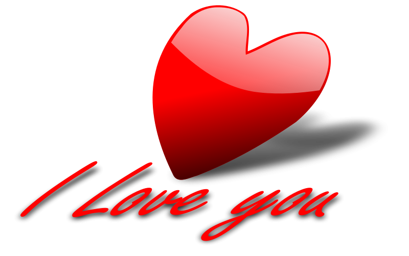 Illustration of a red heart and I love you text : Free Stock Photo