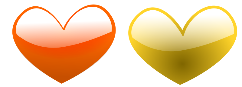 Illustration of orange and yellow hearts : Free Stock Photo