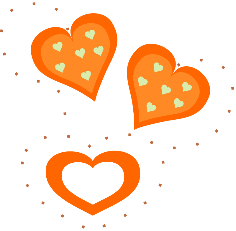 Illustration of orange hearts : Free Stock Photo