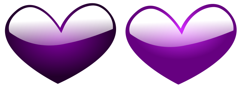 Illustration of purple hearts.