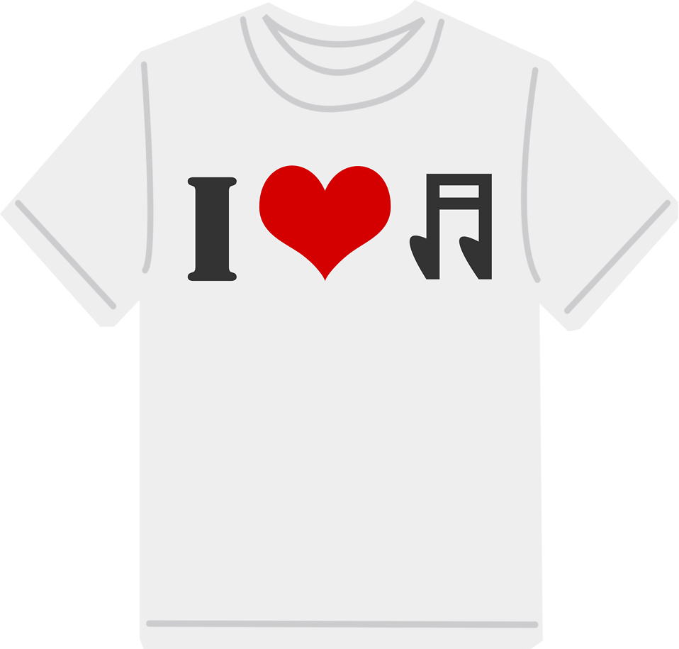 Illustration of an I love music t-shirt : Free Stock Photo