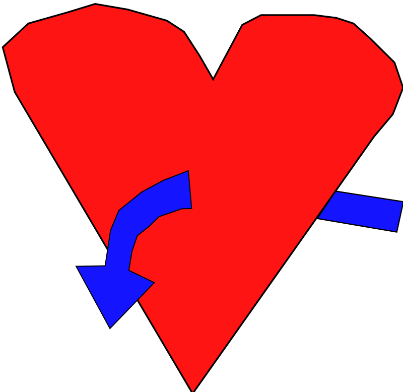 Illustration of a red heart with a blue curved arrow : Free Stock Photo