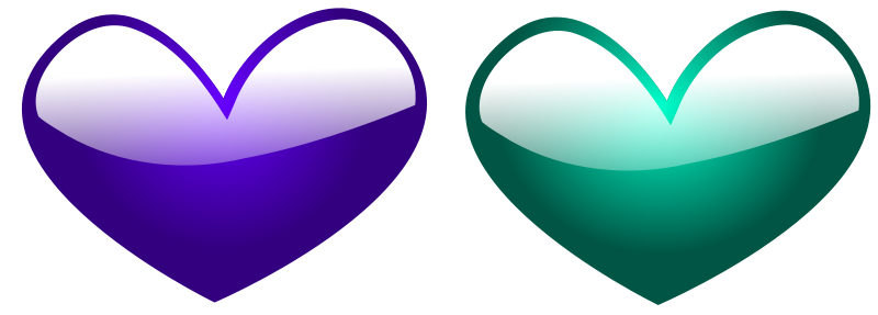 Illustration of blue and green hearts : Free Stock Photo