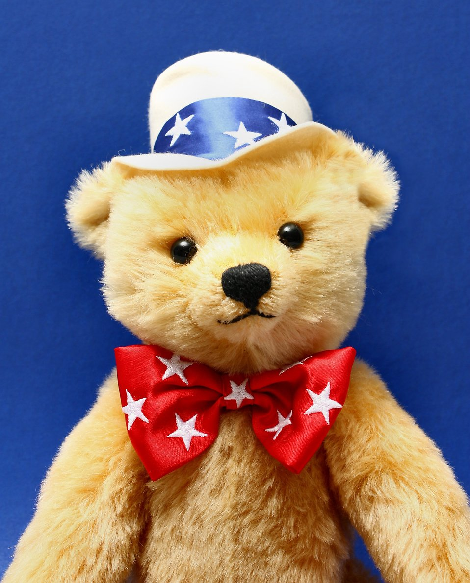Close-up of a patriotic teddy bear isolated on a blue background.