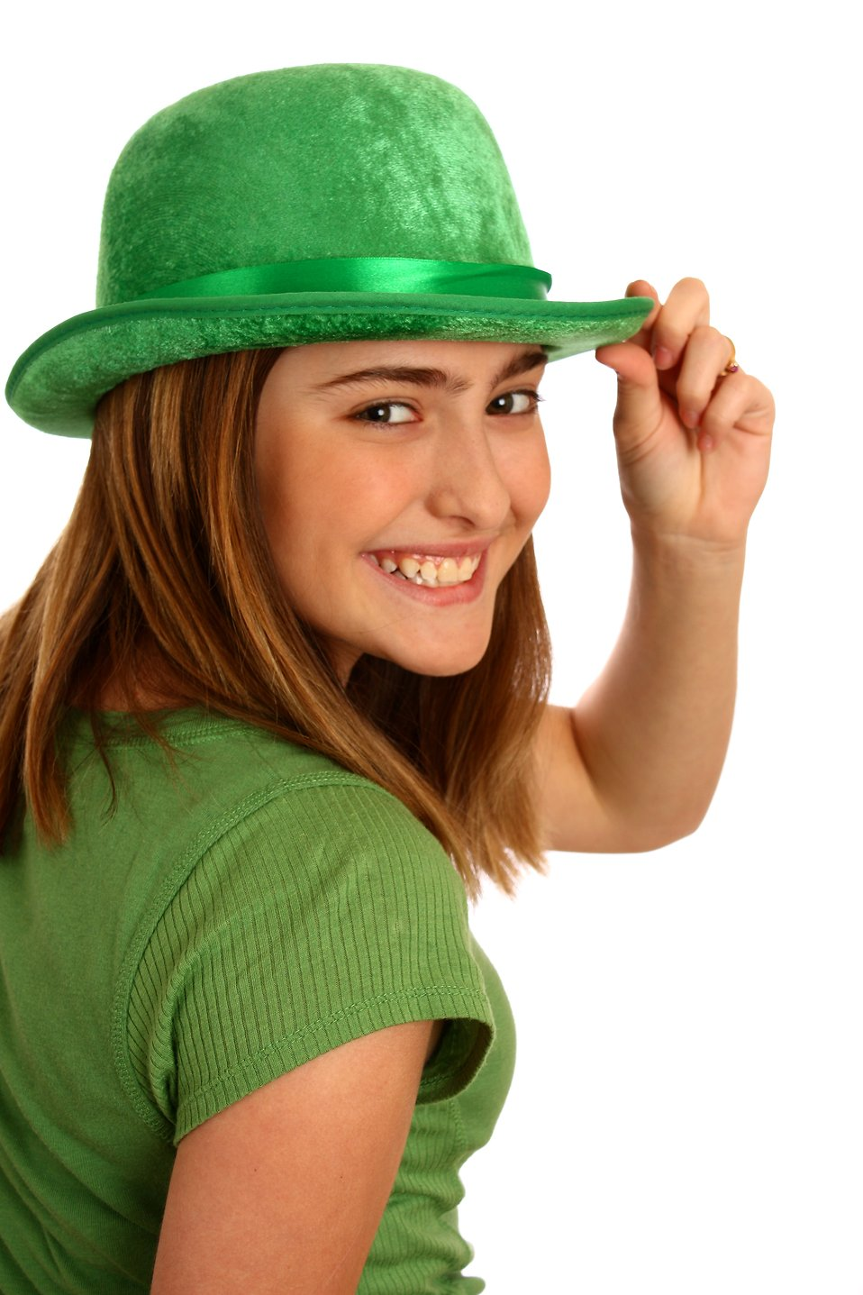 A cute young girl dressed up for Saint Patrick's Day with a green hat : Free Stock Photo