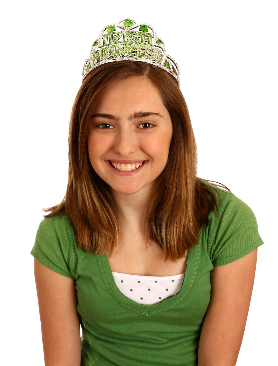 A cute young girl dressed up for Saint Patrick's Day with a tiara : Free Stock Photo