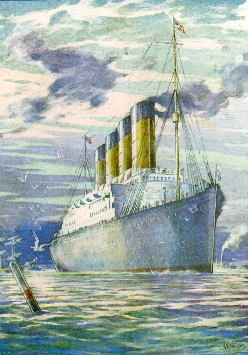 Illustration of a large passenger steamer ship on the water : Free Stock Photo