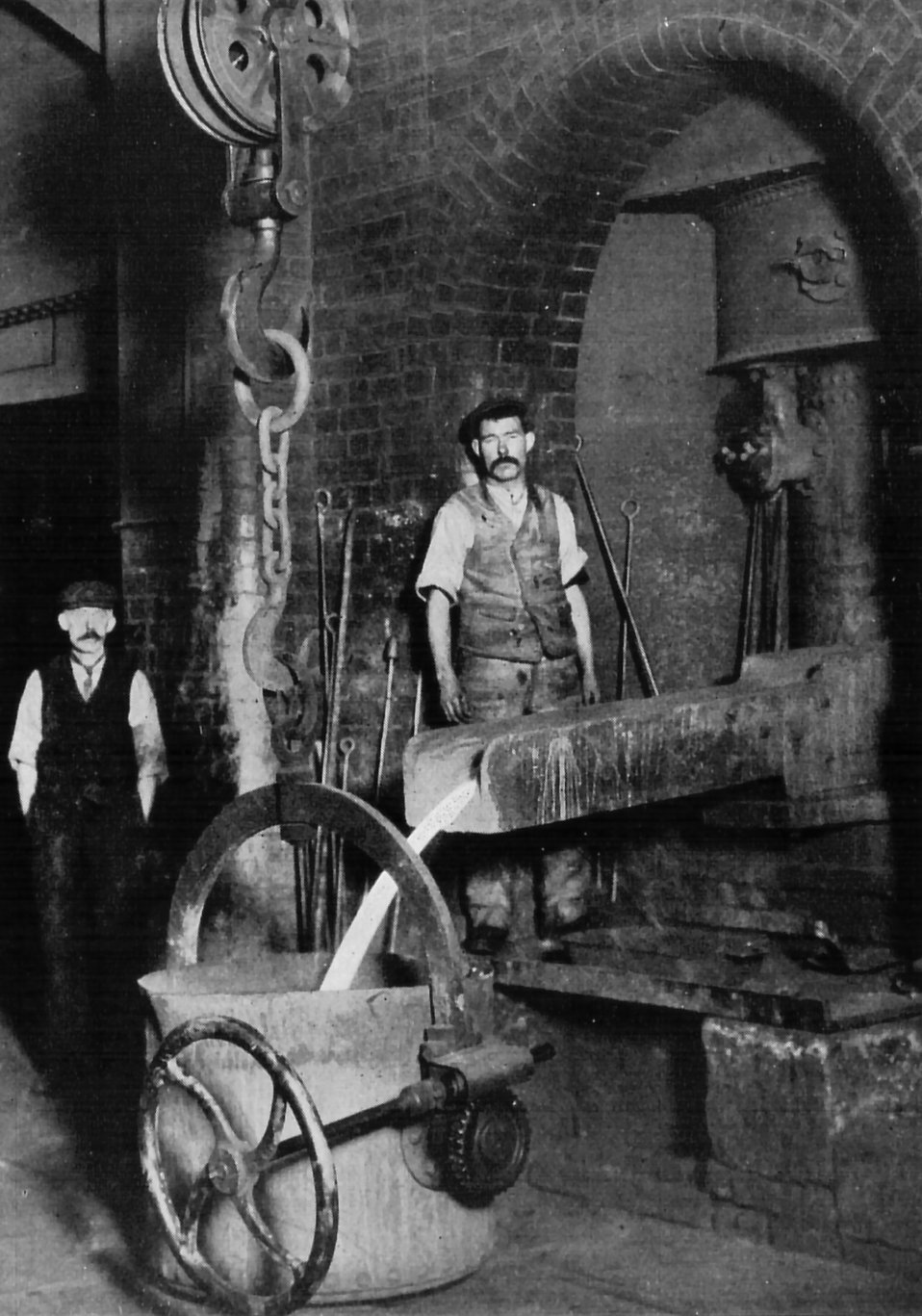 Two men working in an iron foundry : Free Stock Photo