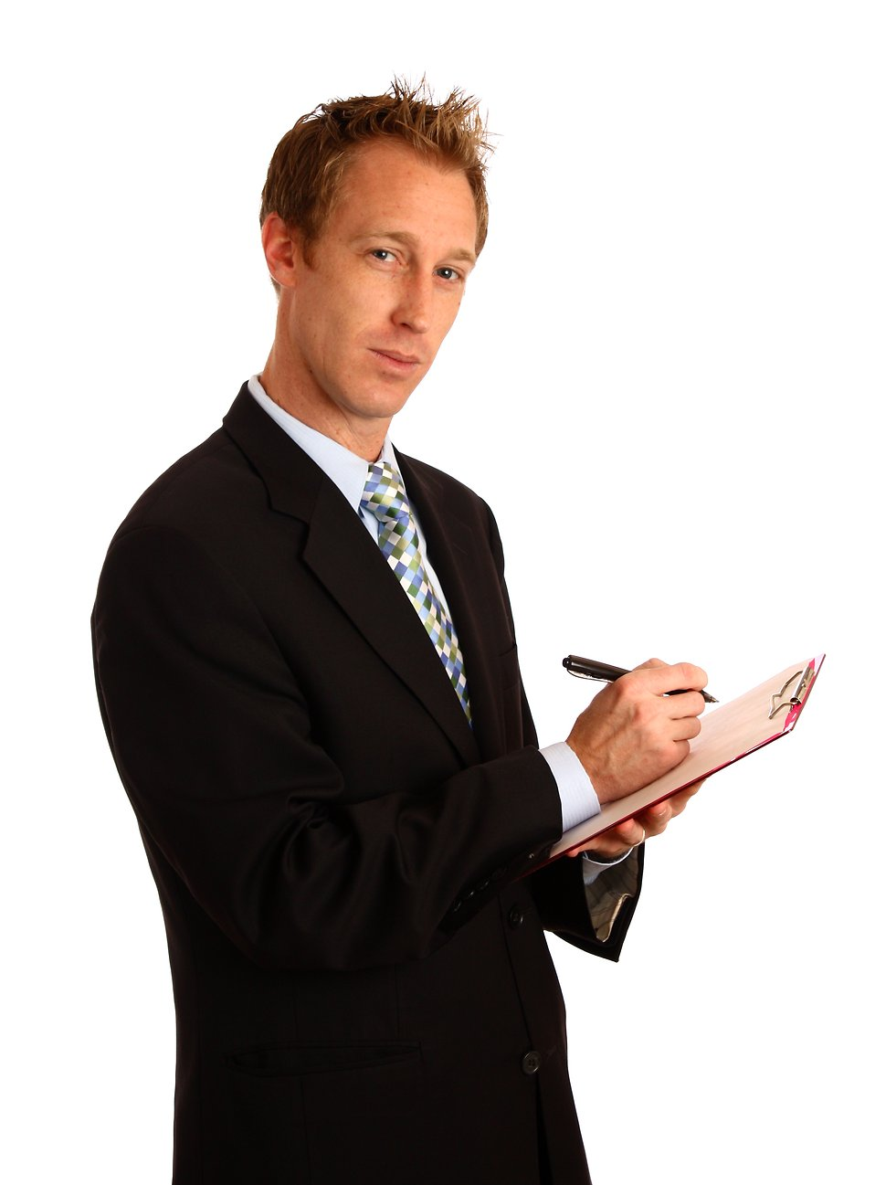 A young businessman holding a clipboard and pen.