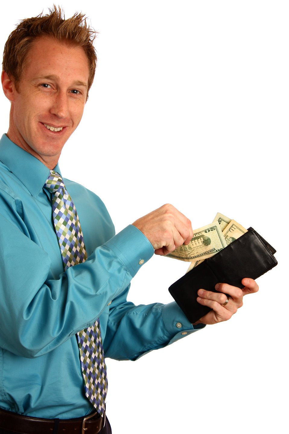 A young businessman holding a wallet with money : Free Stock Photo