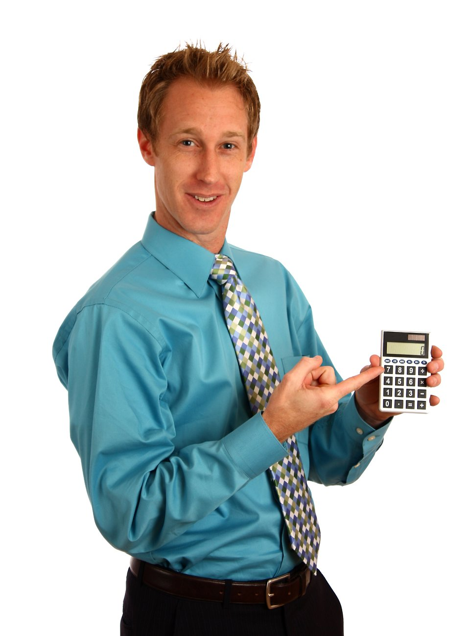 A young businessman holding a calculator : Free Stock Photo