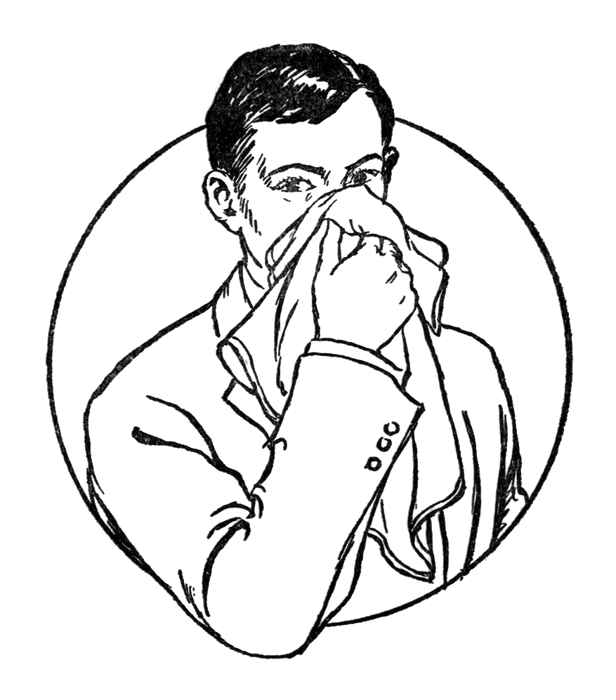 Vintage illustration of a man blowing his nose : Free Stock Photo