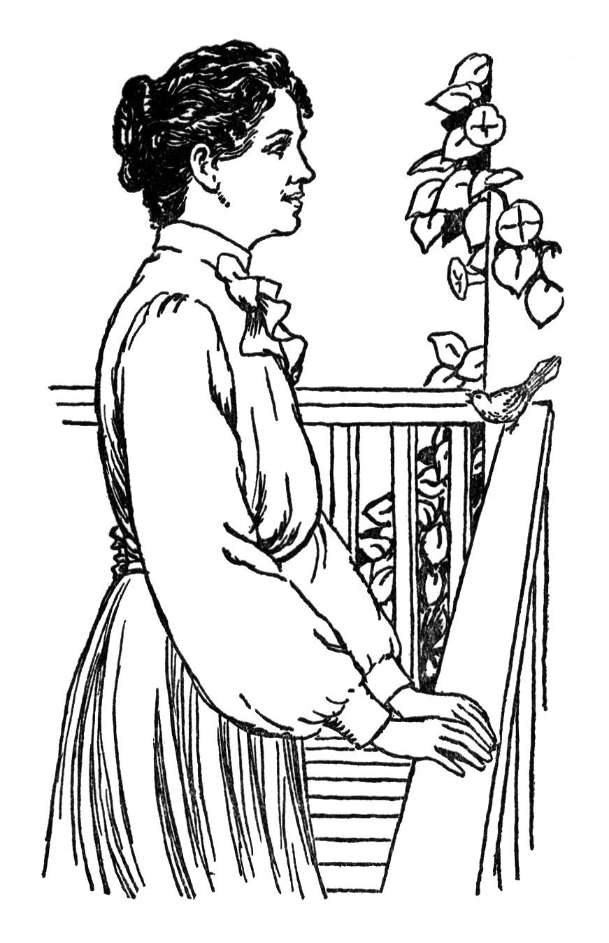 Vintage illustration of a woman standing on a porch : Free Stock Photo