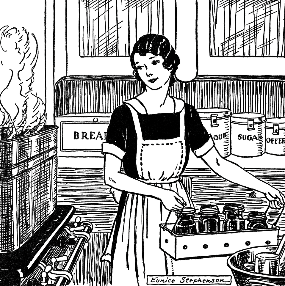 Vintage illustration of a woman in a kitchen : Free Stock Photo