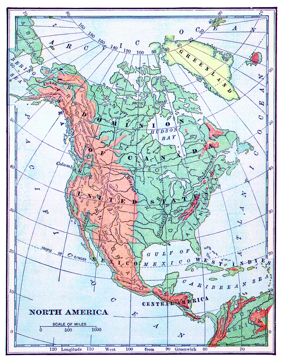 Vintage map of North America : Free Stock Photo