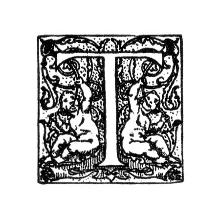 Vintage illustration of an ornate letter T : Free Stock Photo