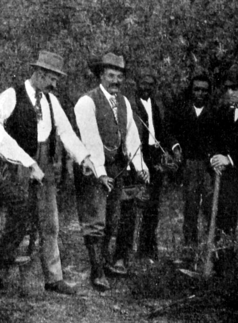 Vintage photo of men dowsing for water : Free Stock Photo