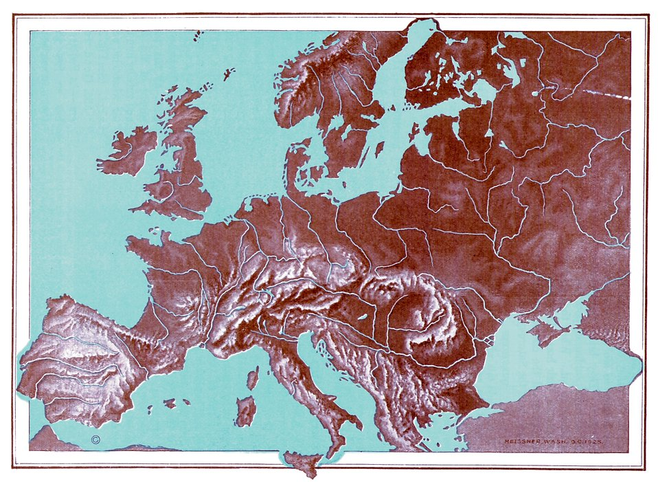 A vintage relief map of Europe : Free Stock Photo