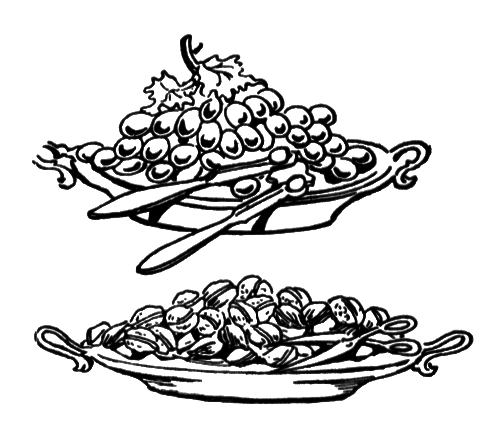 Illustration of plates of nuts and grapes : Free Stock Photo