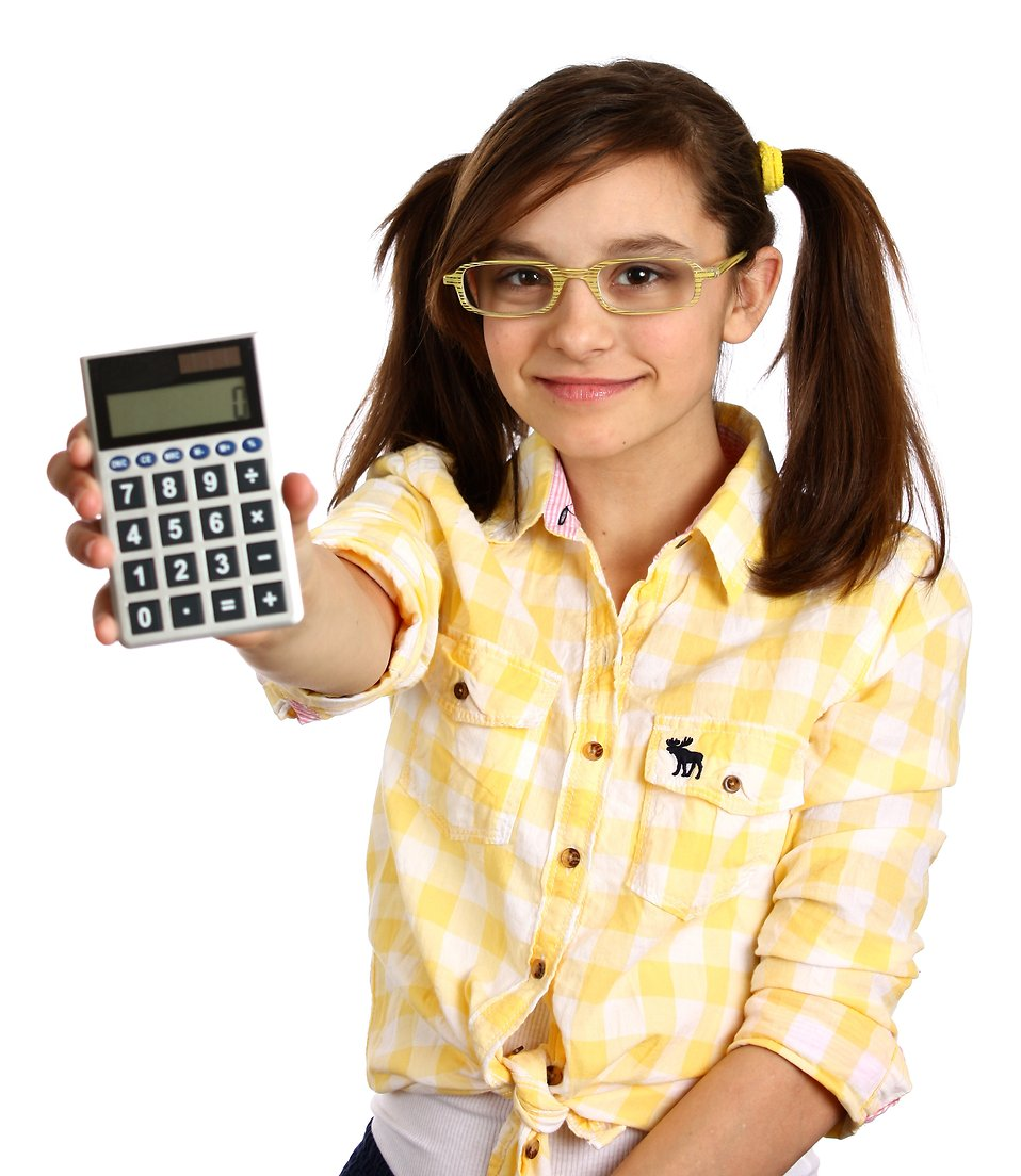 A smart girl with glasses holding a calculator : Free Stock Photo