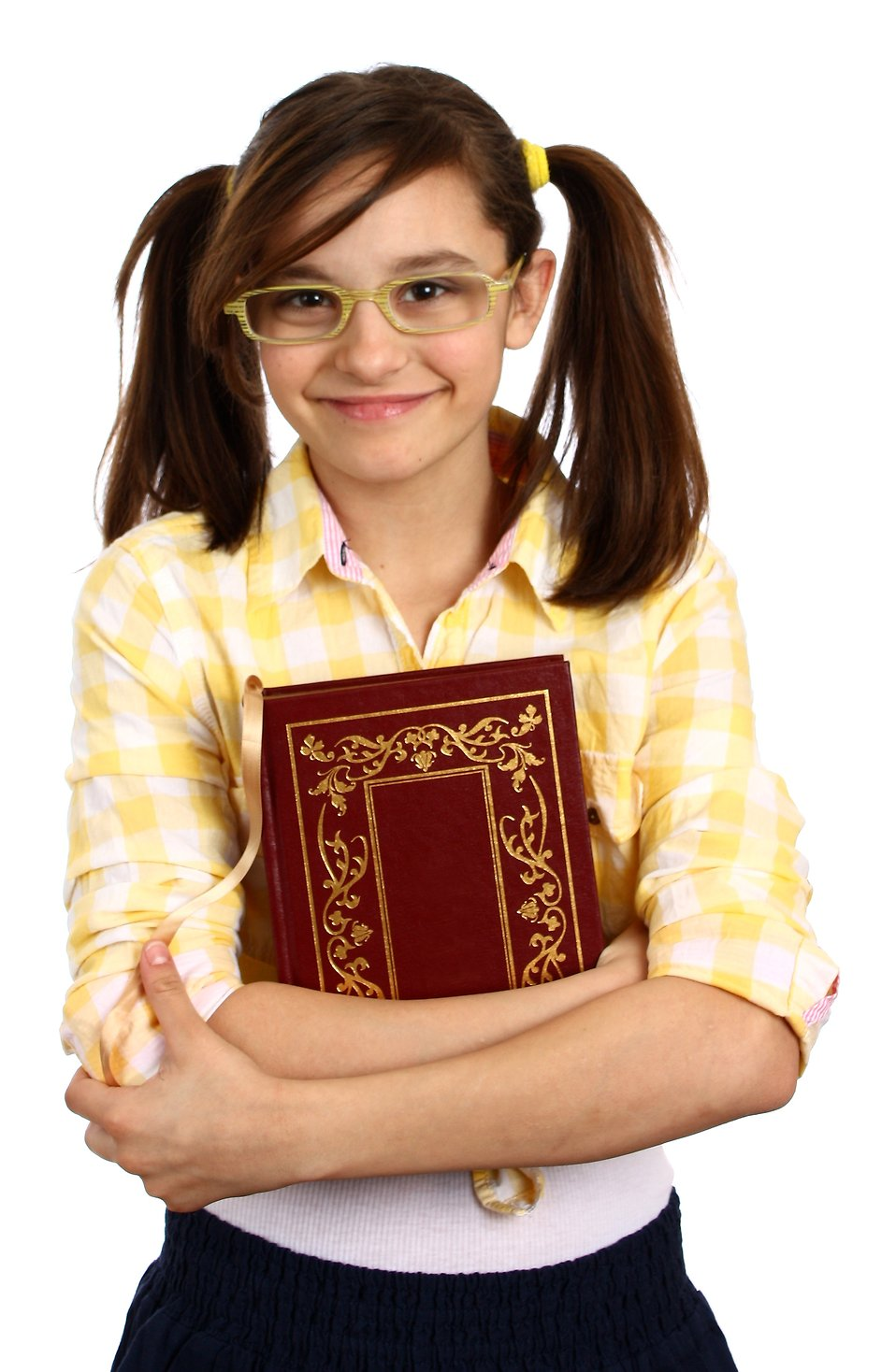 A smart girl with glasses holding a book : Free Stock Photo