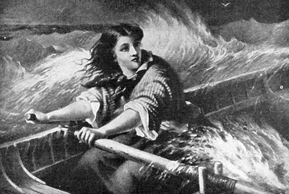 Vintage illustration of a woman rowing a boat on rough seas.