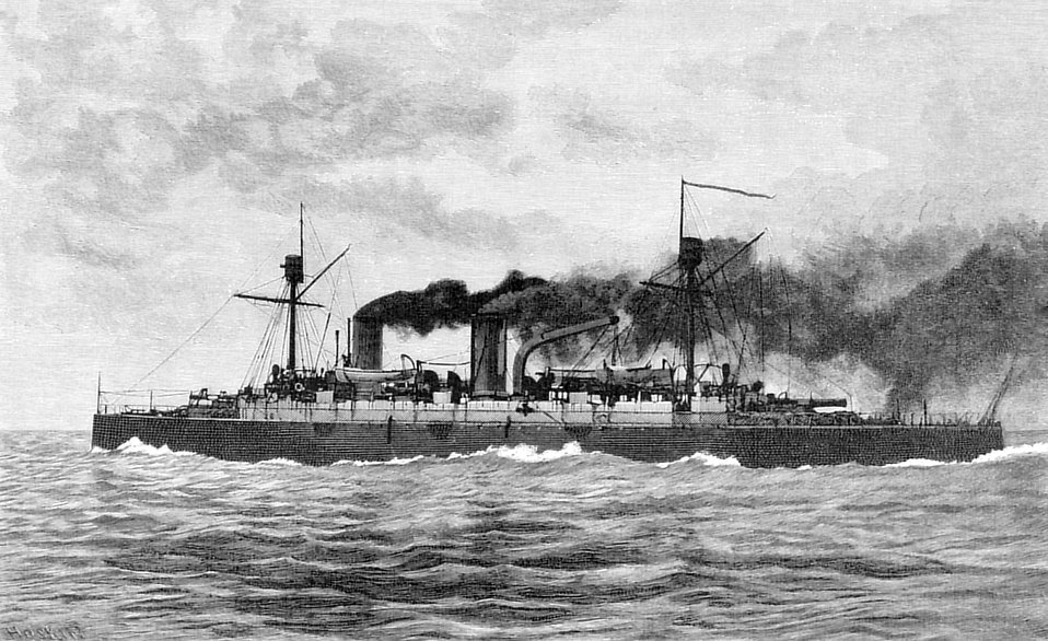 Vintage illustration of an Italian war steamship : Free Stock Photo
