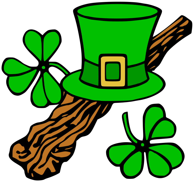 Illustration of a Saint Patrick's Day hat and shillelagh : Free Stock Photo