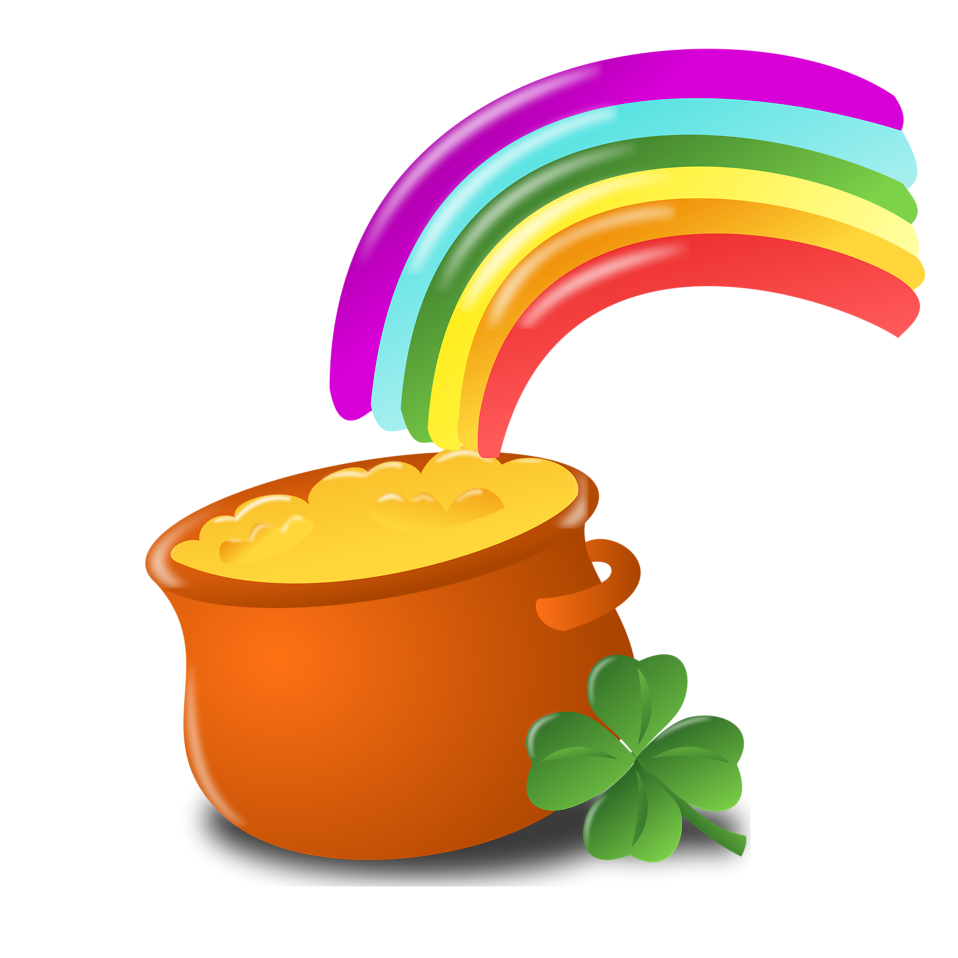 Illustration of a pot of gold and a rainbow for Saint Patrick's Day.