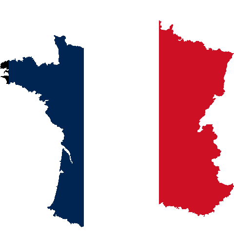 Silhouette of France with flag color : Free Stock Photo